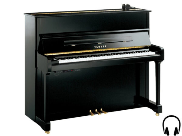 Yamaha P121 SH2 PE - Yamaha piano met silent systeem in zwart hoogglans en messing - Yamaha Silent Piano