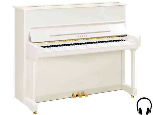 Yamaha P121 SH2 PWH - Yamaha piano met silent systeem in wit hoogglans en messing - Yamaha Silent Piano