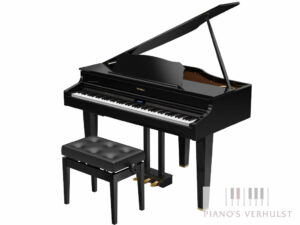 Roland digitale vleugelpiano GP 607 PE - Digitale vleugelpiano Roland in zwart hoogglans met afwerking in messing - Piano's Verhulst
