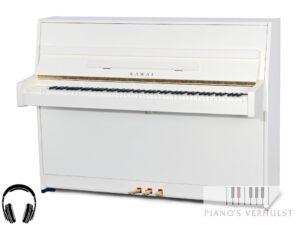 Kawai K-15 ATX3 PWH - silent piano Kawai in wit hoogglans met messing afwerking