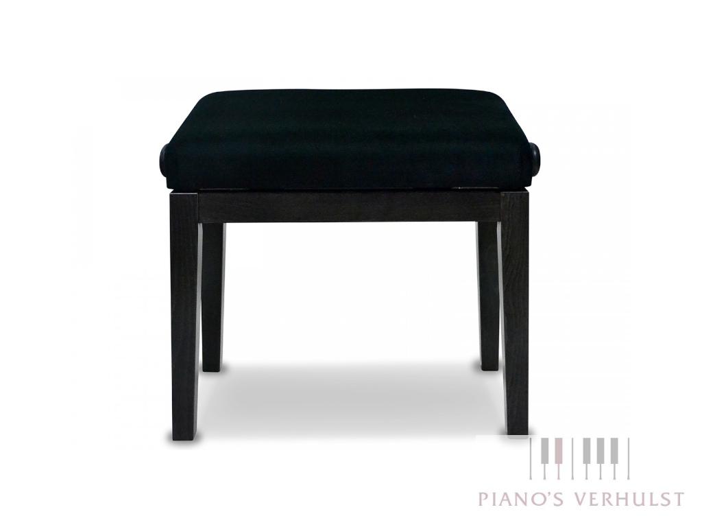 Ergonomische pianobank Discacciati 105 T Ergo - zwart hoogglans met stoffen zitting