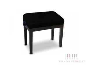 Ergonomische pianobank 105 T Ergo Discacciati zwart hoogglans met stoffen zitting